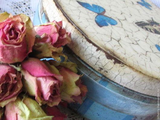 """Шкатулки ручной работы. Ярмарка Мастеров - ручная работа. Купить Шкатулка""""Les papillons bleus"""". Handmade. Голубой, овальная, овальная шкатулка"""