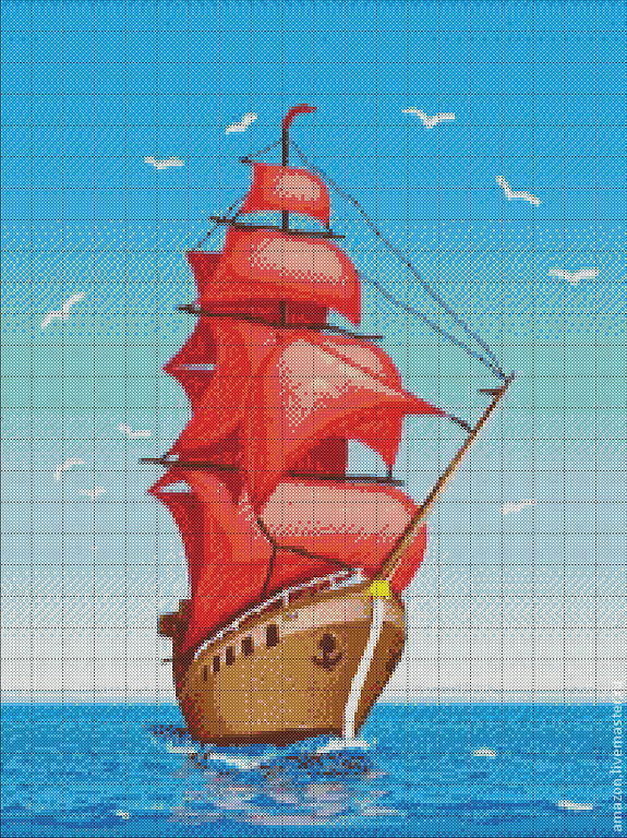 Kit embroidery with beads 'Scarlet sails', Creator\'s Kit, Ufa,  Фото №1
