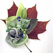 """Украшения ручной работы. Ярмарка Мастеров - ручная работа Брошь """"Серебряный морозник"""", брошь шелковая, брошь цветок. Handmade."""