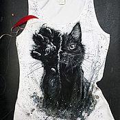handmade. Livemaster - original item T-shirts: hand-painted Mr cat t-shirt. Handmade.