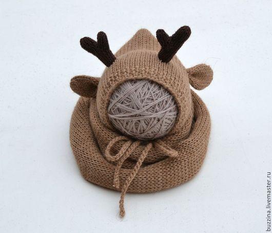 Для новорожденных, ручной работы. Ярмарка Мастеров - ручная работа. Купить Шапочка для фотосессии новорожденных + обмотка Олененок. Handmade.