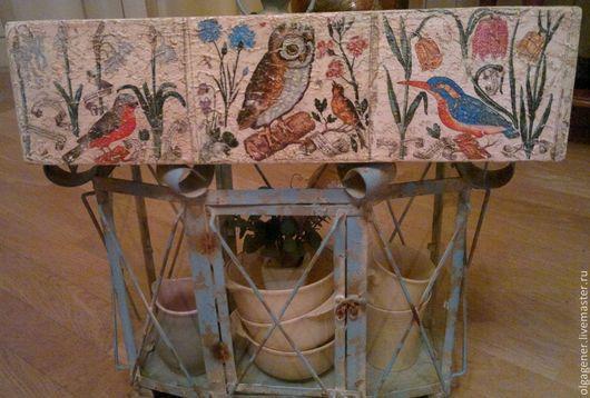 Картины цветов ручной работы. Ярмарка Мастеров - ручная работа. Купить Панно деревянное настенное Птицы и Цветы_из книги 17 в. Handmade.