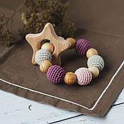 Одежда handmade. Livemaster - original item Teether is the first baby grey, dusty pink star. Handmade.