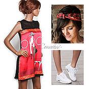 Одежда ручной работы. Ярмарка Мастеров - ручная работа Платье-трапеция с помпончиками /красное. Handmade.