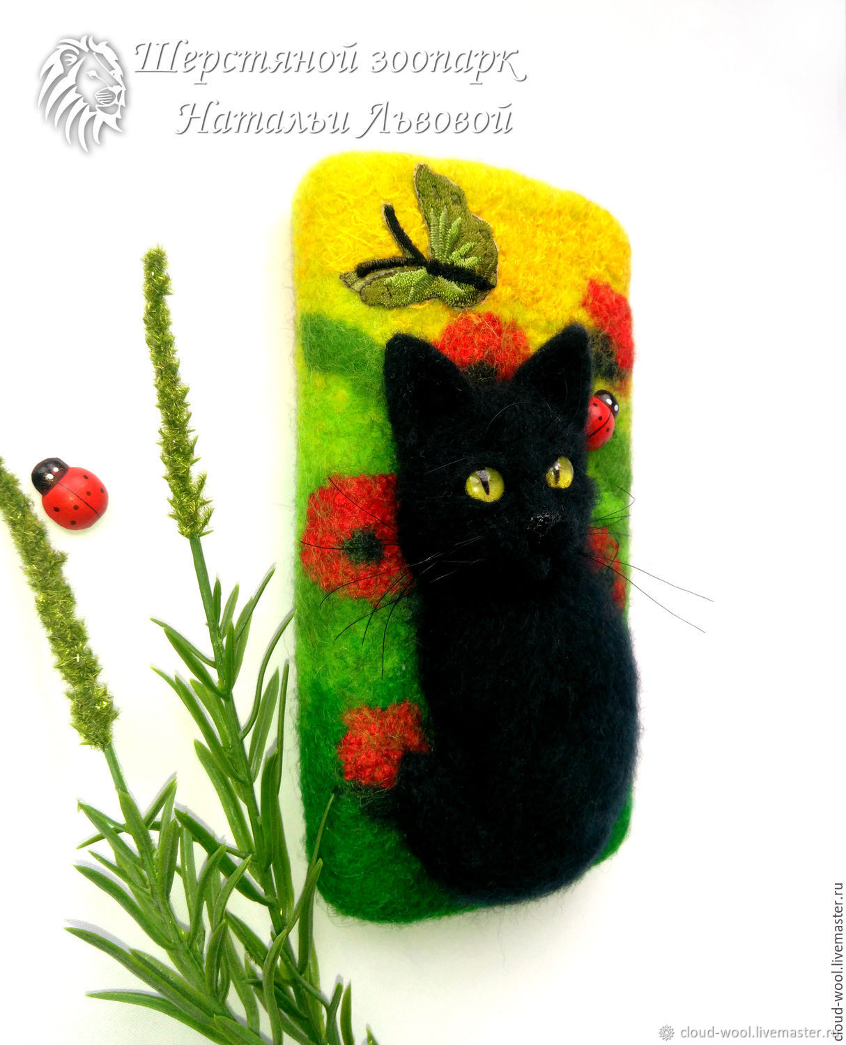 Cover for your cat and Poppies case for cell phone case felted wool, Covers, Sochi, Фото №1