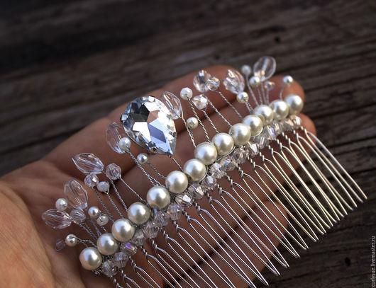 Диадемы, обручи ручной работы. Ярмарка Мастеров - ручная работа. Купить Диадема гребень заколка с жемчугом и кристаллами свадебная корона. Handmade.