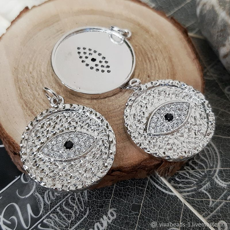 1 PCs. Eye pendant with zircons 24x21x2 mm rhodium (4361), Beads1, Voronezh,  Фото №1
