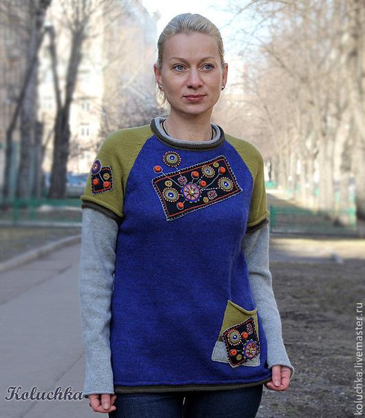 Кофты и свитера ручной работы. Ярмарка Мастеров - ручная работа. Купить Март. Handmade. Абстрактный, Яркая одежда, одежда на весну