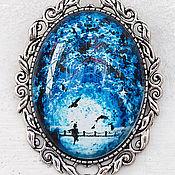 Украшения ручной работы. Ярмарка Мастеров - ручная работа Крупная брошь Овальная булавка Синее боло на блузку Ночная лунная река. Handmade.