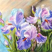 """Картины и панно ручной работы. Ярмарка Мастеров - ручная работа Картина маслом цветы """"Цветы радуги"""", фиолетовый розовый. Handmade."""