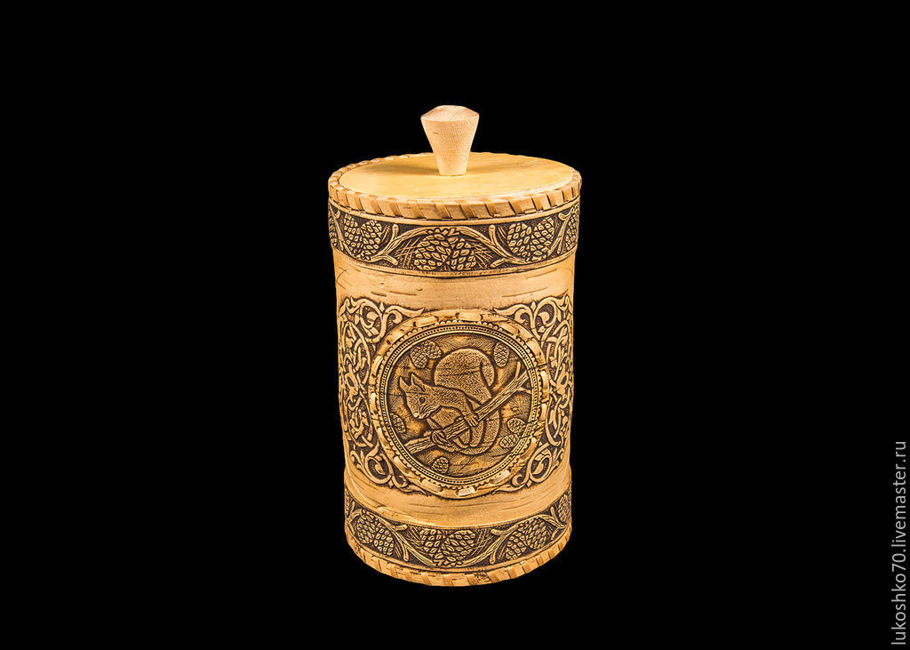 Box of birch bark, a large 'Squirrel'. Jar with lid, Jars, Tomsk,  Фото №1