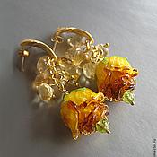 """Серьги """"Медовые розы"""": авторский лэмпворк, цитрин"""