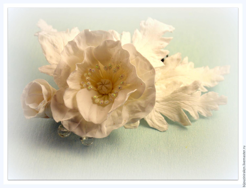 Гребешок для невесты с белым маком из полимерной глины, Украшения, Казань, Фото №1