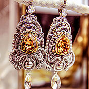 Украшения handmade. Livemaster - original item Eve`s soutache earrings. color: Topaz in silver. soutache.. Handmade.