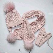 Аксессуары handmade. Livemaster - original item Knitted winter hat and scarf. Handmade.