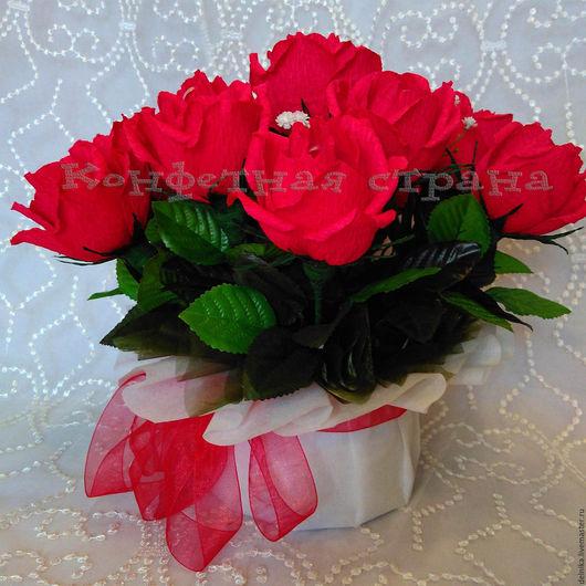Букет из конфет, ручная работа, подарок на юбилей, подарок на День учителя, подарок на день рождения, розы из конфет.