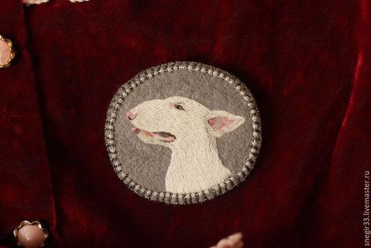 Броши ручной работы. Ярмарка Мастеров - ручная работа. Купить Бультерьер. Handmade. Собака, embroidery, животные