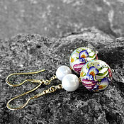 Украшения handmade. Livemaster - original item Tensha earrings with Majorica pearls in gold plated silver. Handmade.