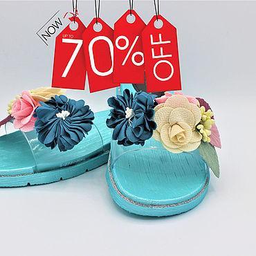 Обувь ручной работы. Ярмарка Мастеров - ручная работа Шлепки-цветочки. Handmade.