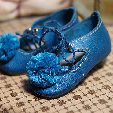 """Куклы и игрушки ручной работы. Ярмарка Мастеров - ручная работа Обувь для Антикварной и современной куклы """"Turquoise PomPom"""". Handmade."""