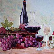 """Картины и панно ручной работы. Ярмарка Мастеров - ручная работа Картина маслом """" Натюрморт с виноградом"""". Handmade."""
