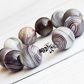 Фен-шуй и эзотерика handmade. Livemaster - original item Rosary Ring made of gray agate Botswana with silver. Handmade.