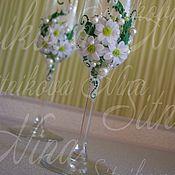 """Свадебный салон ручной работы. Ярмарка Мастеров - ручная работа Свадебные бокалы """"Нежность ромашки(хризантемы). Handmade."""
