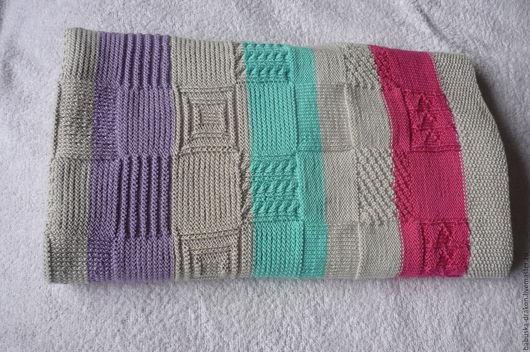 Текстиль, ковры ручной работы. Ярмарка Мастеров - ручная работа. Купить Плед Экслюзив хлопковый вязанный спицами. Handmade. Комбинированный