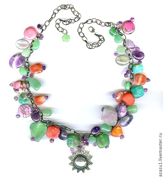 Necklaces & Beads handmade. Livemaster - handmade. Buy Necklace with amethyst, agate, charoite, rhodonite, fluorites etc..