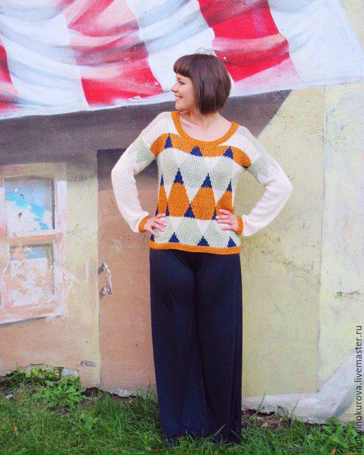 """Кофты и свитера ручной работы. Ярмарка Мастеров - ручная работа. Купить Пуловер """"Графика"""" #3. Handmade. Комбинированный, вязаный свитер"""