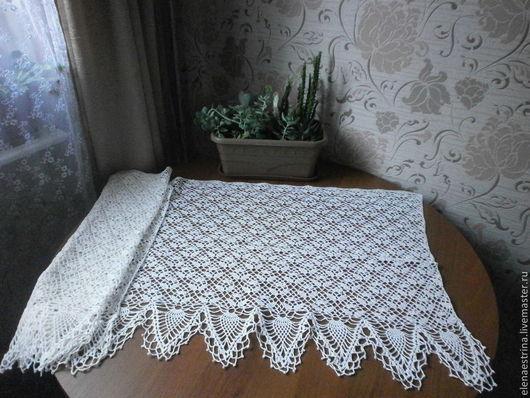 Текстиль, ковры ручной работы. Ярмарка Мастеров - ручная работа. Купить Штора, 160 см на 50 см. Handmade. Белый