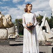 Свадебный салон ручной работы. Ярмарка Мастеров - ручная работа Свадебное платье кружевное  с рукавами. Handmade.