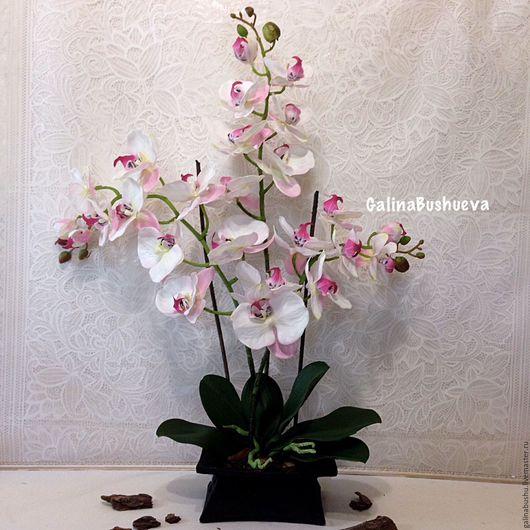 """Искусственные растения ручной работы. Ярмарка Мастеров - ручная работа. Купить """"Ванесса"""" интерьерная имитация живой орхидеи.. Handmade. Белый"""