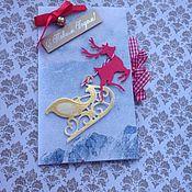 """Открытки ручной работы. Ярмарка Мастеров - ручная работа Открытка новогодняя """"Северный олень"""". Handmade."""