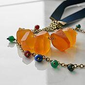 Работы для детей, handmade. Livemaster - original item Boho necklace beads on a ribbon Indian summer. Handmade.