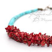 Украшения handmade. Livemaster - original item Choker Coral turquoise short bead necklace with coral and turquoise, coral. Handmade.