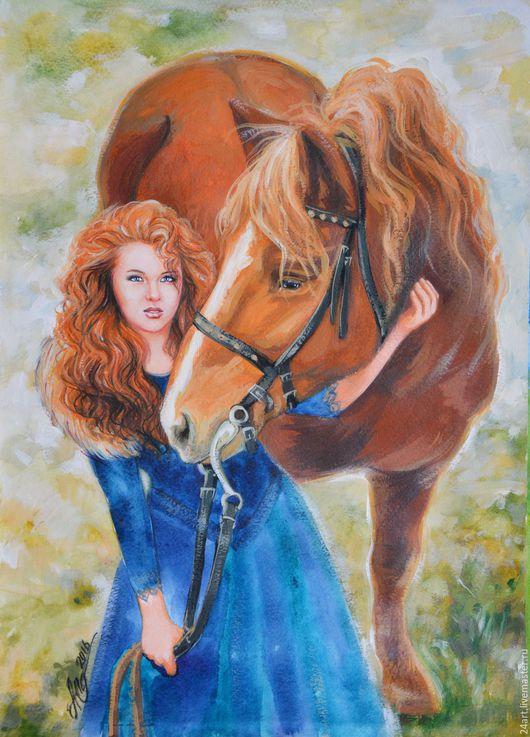 Люди, ручной работы. Ярмарка Мастеров - ручная работа. Купить портрет по фото для Дарьи. Handmade. Рыжий, портрет маслом