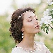 Свадебный салон ручной работы. Ярмарка Мастеров - ручная работа Свадебный венок для прически невесты из розовых бусин под жемчуг.. Handmade.