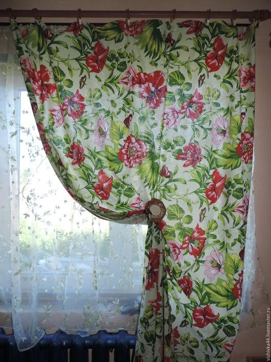 Шитье ручной работы. Ткань лен хлопок крупные цветы. Оксана    Льняной мир. Ярмарка Мастеров. Льняная ткань