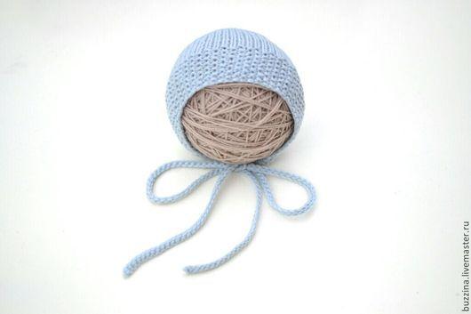Для новорожденных, ручной работы. Ярмарка Мастеров - ручная работа. Купить Чепчик для новорожденного серо-голубой реквизит для фотосесси. Handmade.