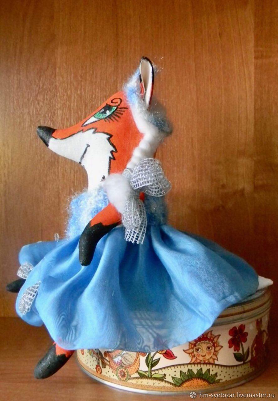 Лиса в костюме Снегурочки, текстильная игрушка, Игрушки, Санкт-Петербург, Фото №1