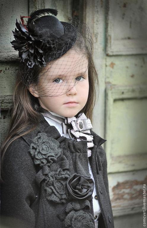 Заколки ручной работы. Ярмарка Мастеров - ручная работа. Купить Заколка для волос мини-шляпка с цветком и вуалью. Handmade. Черный