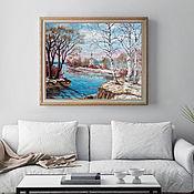 Картины ручной работы. Ярмарка Мастеров - ручная работа Весна, 50х60 см, картина маслом на холсте, в раме, пейзаж. Handmade.