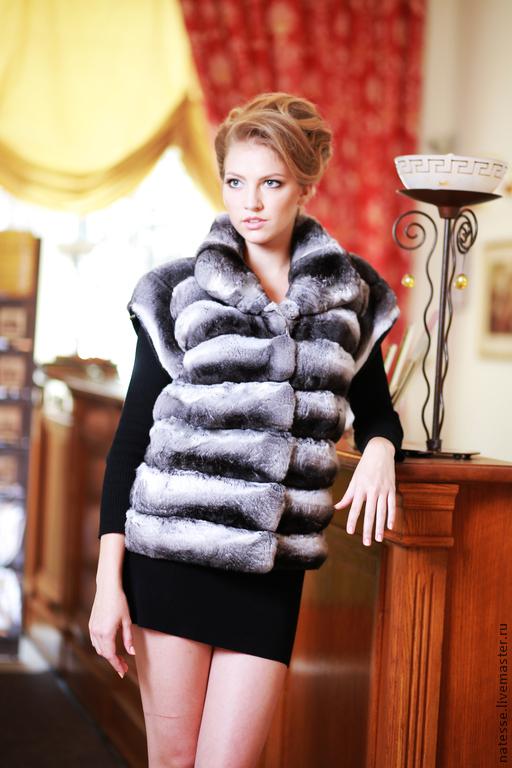 Жилет жилетка из шиншиллы Chinchilla fur vest gilet  over coat