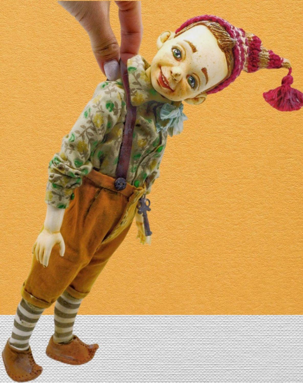 Буратино. Фарфоровая кукла 36 см. Коллекция «Золотой ключик», Будуарная кукла, Кемерово,  Фото №1
