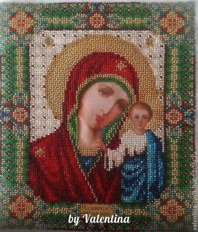 Икона казанской божьей матери вышивка бисером фото 9