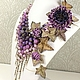 Purple Parfait. Necklace, brooch flower, flowers. Natural stones and leather, Jewelry Sets, St. Petersburg,  Фото №1