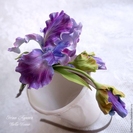 Диадемы, обручи ручной работы. Ярмарка Мастеров - ручная работа. Купить Ободок с цветами из полимерной глины Ирис. Handmade.