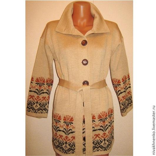 Верхняя одежда ручной работы. Ярмарка Мастеров - ручная работа. Купить Вязаное пальто с растительным орнаментом. Handmade. Вязание на машине