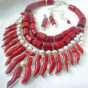 Украшения handmade. Livemaster - original item necklace 3 strands and earrings red coral, pearls beads.. Handmade.